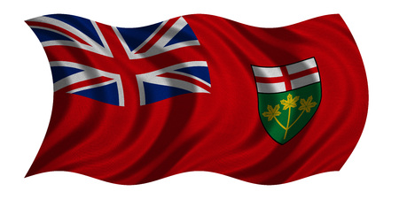 province: Ontarian provincial flag, patriotic element and official symbol. Canada banner and background. Correct colors. Flag of the Canadian province of Ontario wavy on white, fabric texture, 3D illustration
