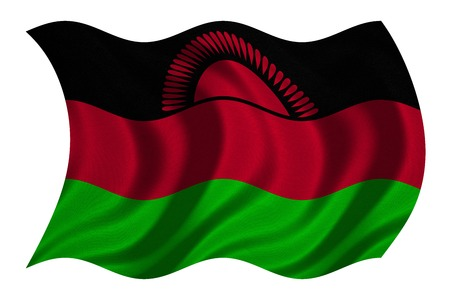 malawian: Malawian national official flag. African patriotic symbol, banner, element, background. Correct colors. Flag of Malawi with real detailed fabric texture wavy isolated on white, 3D illustration