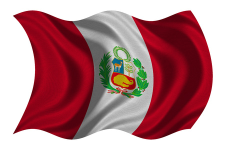 peruvian: Peruvian national official flag. Patriotic symbol, banner, element, background. Correct colors. Flag of Peru with real detailed fabric texture wavy isolated on white, 3D illustration