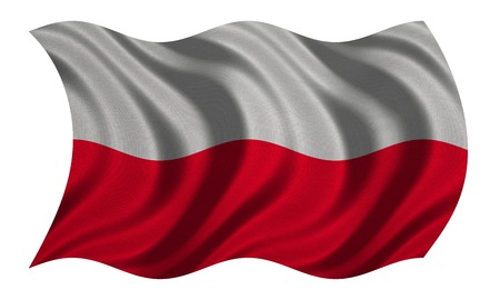 Polish national official flag. Patriotic symbol, banner, element, background. Correct colors. Flag of Poland with real detailed fabric texture wavy isolated on white, 3D illustration Stock Photo