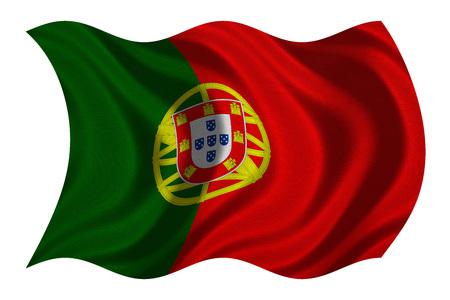 bandera de portugal: Bandera oficial nacional portuguesa Símbolo patriótico, bandera, elemento, fondo. Corregir los colores. Bandera de Portugal con textura de tela real detallado ondulado aislado en blanco, ilustración 3D