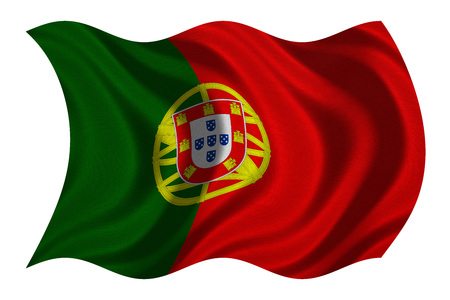 drapeau portugal: Portuguese national official flag. Patriotic symbol, banner, element, background. Correct colors. Flag of Portugal with real detailed fabric texture wavy isolated on white, 3D illustration