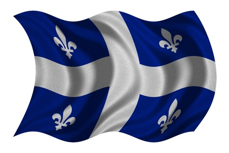 Canadian provincial flag, QC patriotic element and official symbol. Canada Quebec banner and background. Flag of the Canadian province of Quebec wavy isolated on white, fabric texture, 3D illustration