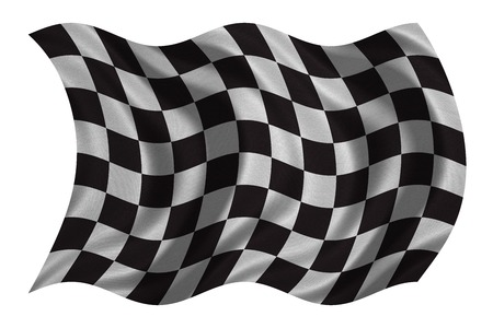 Checkered racing flag. Symbolic design of end of car race. Black and white background. Checkered flag with real detailed fabric texture wavy isolated on white, 3D illustration Reklamní fotografie