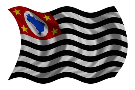federative republic of brazil: Brazilian state of Sao Paulo official flag, symbol. Brasil banner, background. Federative Republic of Brazil patriotic element. Flag of Sao Paulo wavy isolated on white, fabric texture 3D illustration Stock Photo