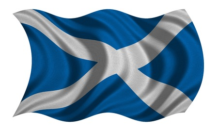 Scottish national official flag. Patriotic symbol, banner, element, background. Correct colors. Flag of Scotland with real detailed fabric texture wavy isolated on white, 3D illustration