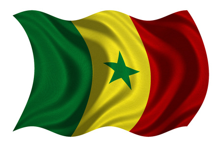 senegalese: Senegalese national official flag. African patriotic symbol, banner, element, background. Correct colors. Flag of Senegal with real detailed fabric texture wavy isolated on white, 3D illustration Stock Photo