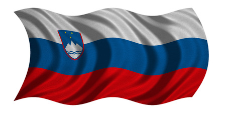 slovenian: Slovenian national official flag. Patriotic symbol, banner, element, background. Correct colors. Flag of Slovenia with real detailed fabric texture wavy isolated on white, 3D illustration