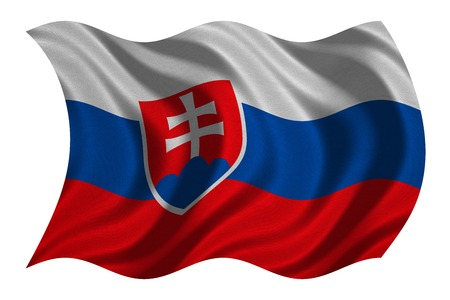 Slovakian national official flag. Patriotic symbol, banner, element, background. Correct colors. Flag of Slovakia with real detailed fabric texture wavy isolated on white, 3D illustration Stock Photo