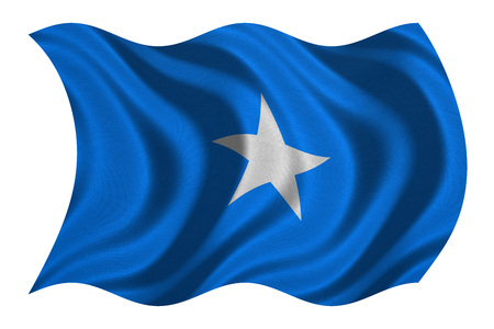 Somali national official flag. African patriotic symbol, banner, element, background. Correct colors. Flag of Somalia with real detailed fabric texture wavy isolated on white, 3D illustration