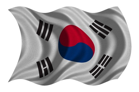 korean national: South Korean national official flag. Patriotic symbol, banner, element, background. Correct colors. Flag of South Korea with real detailed fabric texture wavy isolated on white, 3D illustration