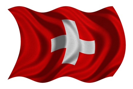 Swiss national official flag. Patriotic symbol, banner, element, background. Correct colors. Flag of Switzerland with real detailed fabric texture wavy isolated on white, 3D illustration