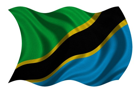 tanzania: Tanzanian national official flag. African patriotic symbol, banner, element, background. Correct colors. Flag of Tanzania with real detailed fabric texture wavy isolated on white, 3D illustration