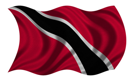 trinidadian: Trinidadian and Tobagonian national official flag. Patriotic symbol, banner, element, background. Correct colors. Flag of Trinidad and Tobago wavy isolated on white, fabric texture, 3D illustration
