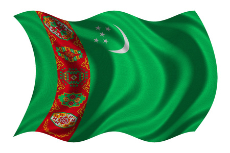 Turkmen national official flag. Patriotic symbol, banner, element, background. Correct colors. Flag of Turkmenistan with real detailed fabric texture wavy isolated on white, 3D illustration