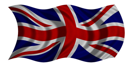 British national official flag. Patriotic UK symbol. Great Britain banner, element, background. Correct colors. Flag of the United Kingdom wavy isolated on white, real fabric texture, 3D illustration