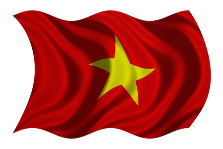 Vietnamese national official flag. Patriotic symbol, banner, element, background. Correct colors. Flag of Vietnam with real detailed fabric texture wavy isolated on white, 3D illustration