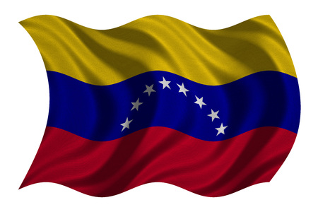 Venezuelan national official flag. Bolivarian Republic of Venezuela patriotic symbol banner element, background. Correct color. Flag of Venezuela wavy isolated on white, fabric texture 3D illustration Stock Photo