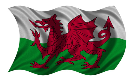 Welsh national official flag. Patriotic symbol, banner, element, background. Correct colors. Flag of Wales with real detailed fabric texture wavy isolated on white, 3D illustration Stock Photo
