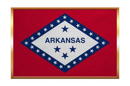 Flag of the US state of Arkansas. American patriotic element. USA banner. United States of America symbol. Arkansan official flag, golden frame, fabric texture, illustration. Accurate size, colors