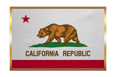 Flag of the US state of California. American patriotic element. USA banner. United States of America symbol. Californian official flag, golden frame, fabric texture, illustration. Accurate size colors Stock Photo
