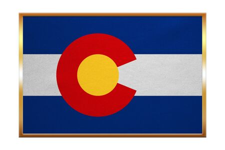 Flag of the US state of Colorado. American patriotic element. USA banner. United States of America symbol. Colorado official flag, golden frame, fabric texture, illustration. Accurate size, colors
