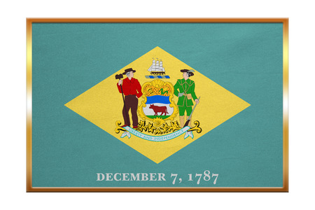 us sizes: Flag of the US state of Delaware. American patriotic element. USA banner. United States of America symbol. Delawarean official flag, golden frame, fabric texture, illustration. Accurate size, colors