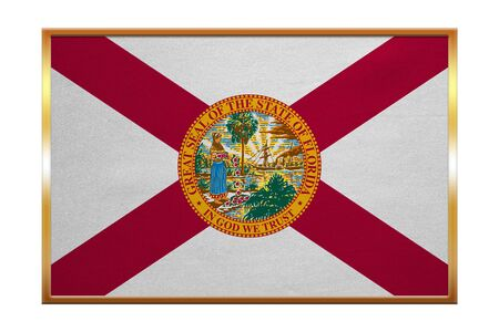 floridian: Flag of the US state of Florida. American patriotic element. USA banner. United States of America symbol. Floridian official flag, golden frame, fabric texture, illustration. Accurate size, colors