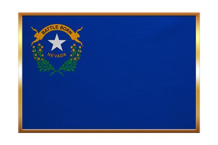proportion: Flag of the US state of Nebraska. American patriotic element. USA banner. United States of America symbol. Nebraskan official flag, golden frame, fabric texture, illustration. Accurate size, colors Stock Photo