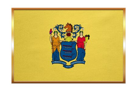 us sizes: Flag of the US state of New Jersey. American patriotic element. USA banner. United States of America symbol. New Jerseyan official flag, golden frame, fabric texture, illustration. Accurate size color Stock Photo
