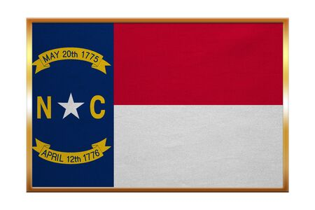 Flag of the US state of North Carolina. American patriotic element. USA banner. United States of America symbol. North Carolinian official flag golden frame fabric texture, illustration. Accurate size