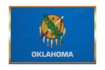 us sizes: Flag of the US state of Oklahoma. American patriotic element. USA banner. United States of America symbol. Oklahoman official flag, golden frame, fabric texture, illustration. Accurate size, colors Stock Photo