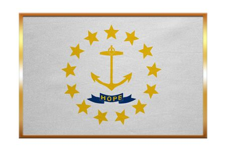 Flag of the US state of Rhode Island. American patriotic element. USA banner. United States of America symbol. Rhode Islander official flag, golden frame, fabric texture, illustration. Accurate colors Stok Fotoğraf