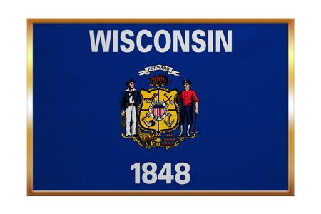 Flag of the US state of Wisconsin. American patriotic element. USA banner. United States of America symbol. Wisconsinite official flag, golden frame, fabric texture, illustration. Accurate size, color Stock Photo