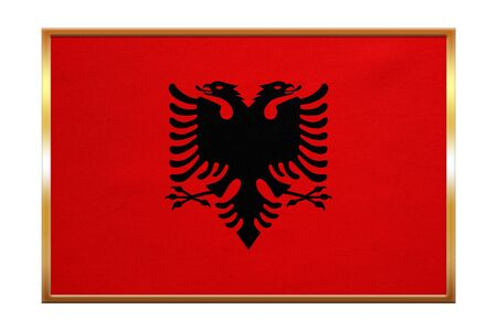 Albanian national official flag. Patriotic symbol, banner, element, background. Correct colors. Flag of Albania , golden frame, fabric texture, illustration. Accurate size, color Stock Photo