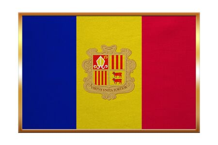 tourism in andorra: Andorran national official flag. Patriotic symbol, banner, element, background. Correct colors. Flag of Andorra , golden frame, fabric texture, illustration. Accurate size, color