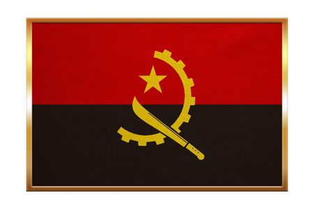 Angolan national official flag. African patriotic symbol, banner, element, background. Correct colors. Flag of Angola , golden frame, fabric texture, illustration. Accurate size, color