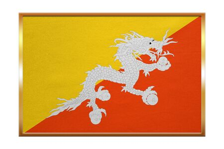 Bhutanese national official flag. Patriotic symbol, banner, element, background. Correct colors. Flag of Bhutan , golden frame, fabric texture, illustration. Accurate size, color