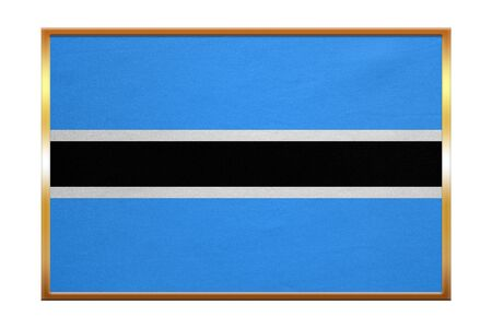 botswanan: Botswanan national official flag. African patriotic symbol, banner, element, background. Correct colors. Flag of Botswana , golden frame, fabric texture, illustration. Accurate size, color Stock Photo