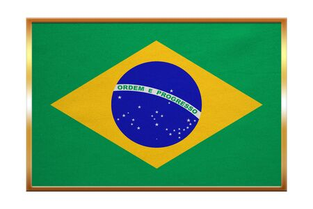 Brazilian national official flag. Patriotic symbol, banner, element, background. Correct colors. Flag of Brazil , golden frame, fabric texture, illustration. Accurate size, color Stock Photo