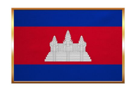 cambodian flag: Cambodian national official flag. Patriotic symbol, banner, element, background. Correct colors. Flag of Cambodia , golden frame, fabric texture, illustration. Accurate size, color