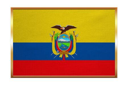 proportion: Ecuadorian national official flag. Patriotic symbol, banner, element, background. Correct colors. Flag of Ecuador , golden frame, fabric texture, illustration. Accurate size, color