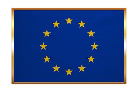proportion: European Union official flag. Patriotic EU symbol. banner, element, design, background. Correct colors. Flag of Europe , golden frame, fabric texture, illustration. Accurate size, color