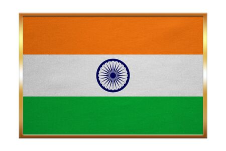 Indian national official flag. Patriotic symbol, banner, element, background. Correct colors. Flag of India , golden frame, fabric texture, illustration. Accurate size, color