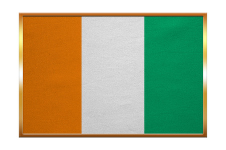 cote d ivoire: Cote D Ivoire national official flag. African patriotic symbol, banner, element, background. Correct colors. Flag of Ivory Coast , golden frame, fabric texture, illustration. Accurate size, color