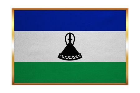 Lesotho national official flag. Basotho african patriotic symbol, banner, element, background. Correct colors. Flag of Lesotho , golden frame, fabric texture, illustration. Accurate size, color