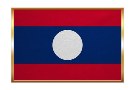 Laotian national official flag. Patriotic symbol, banner, element, background. Correct colors. Flag of Laos , golden frame, fabric texture, illustration. Accurate size, color