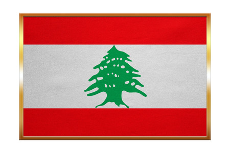 lebanese: Lebanese national official flag. Patriotic symbol, banner, element, background. Correct colors. Flag of Lebanon , golden frame, fabric texture, illustration. Accurate size, color