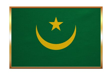 proportion: Mauritanian national official flag. African patriotic symbol, banner, element, background. Correct colors. Flag of Mauritania , golden frame, fabric texture, illustration. Accurate size, color Stock Photo