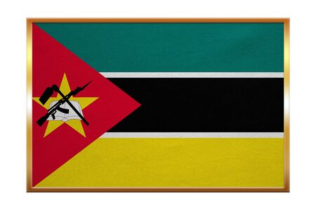 proportion: Mozambican national official flag. African patriotic symbol, banner, element, background. Correct colors. Flag of Mozambique , golden frame, fabric texture, illustration. Accurate size, color Stock Photo